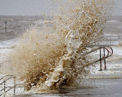 Raging sea at Clacton-on-Sea